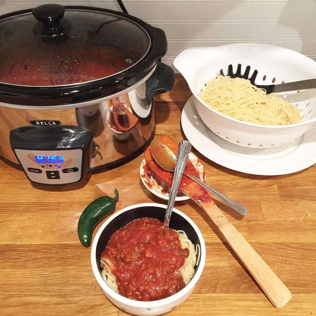 Spicy Crockpot Spaghetti