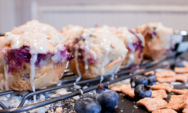 Frosted Cinnamon Banana Blueberry Muffins