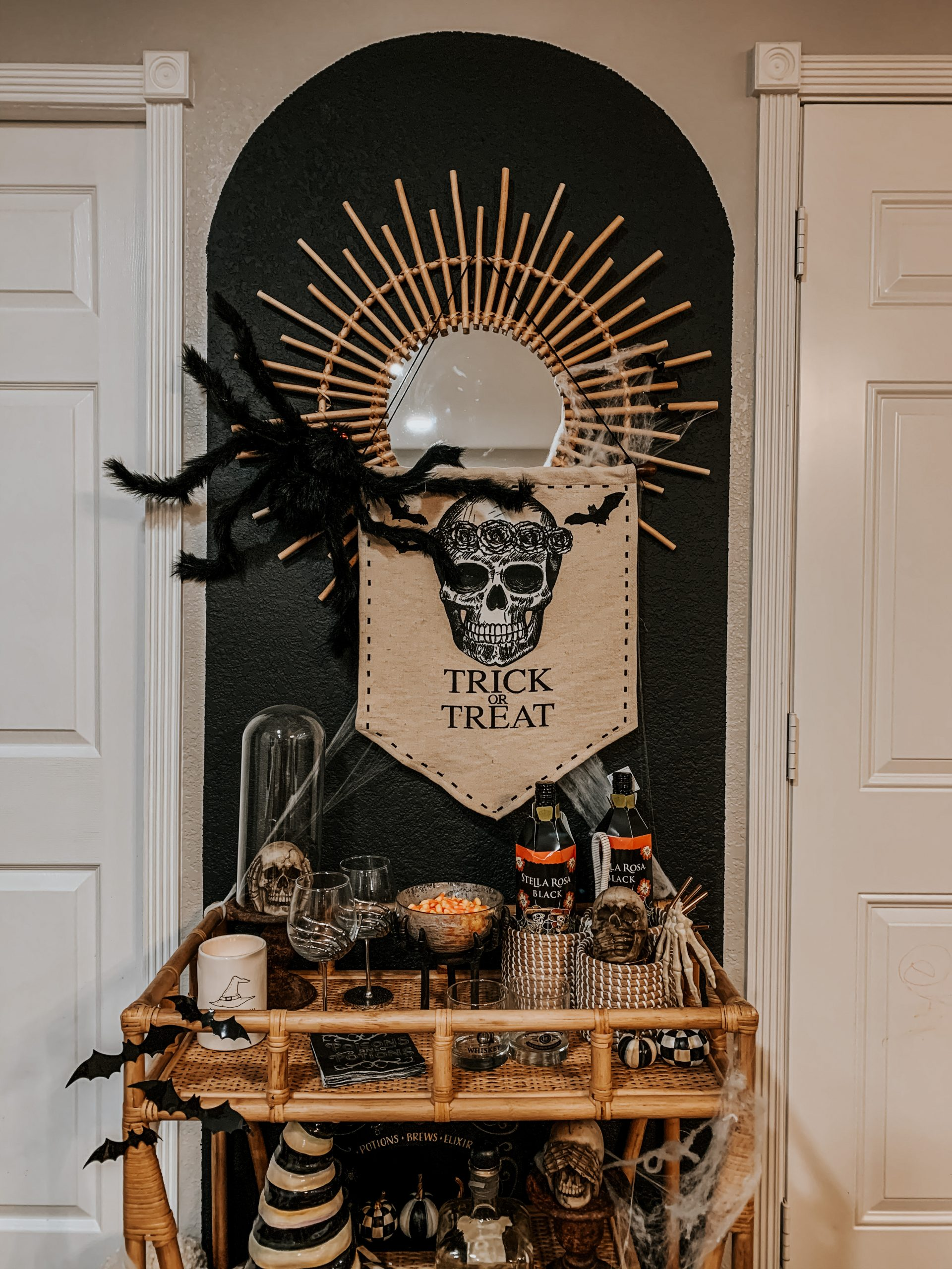 Trick or Treat Halloween Floral Skull Sign Bar Cart