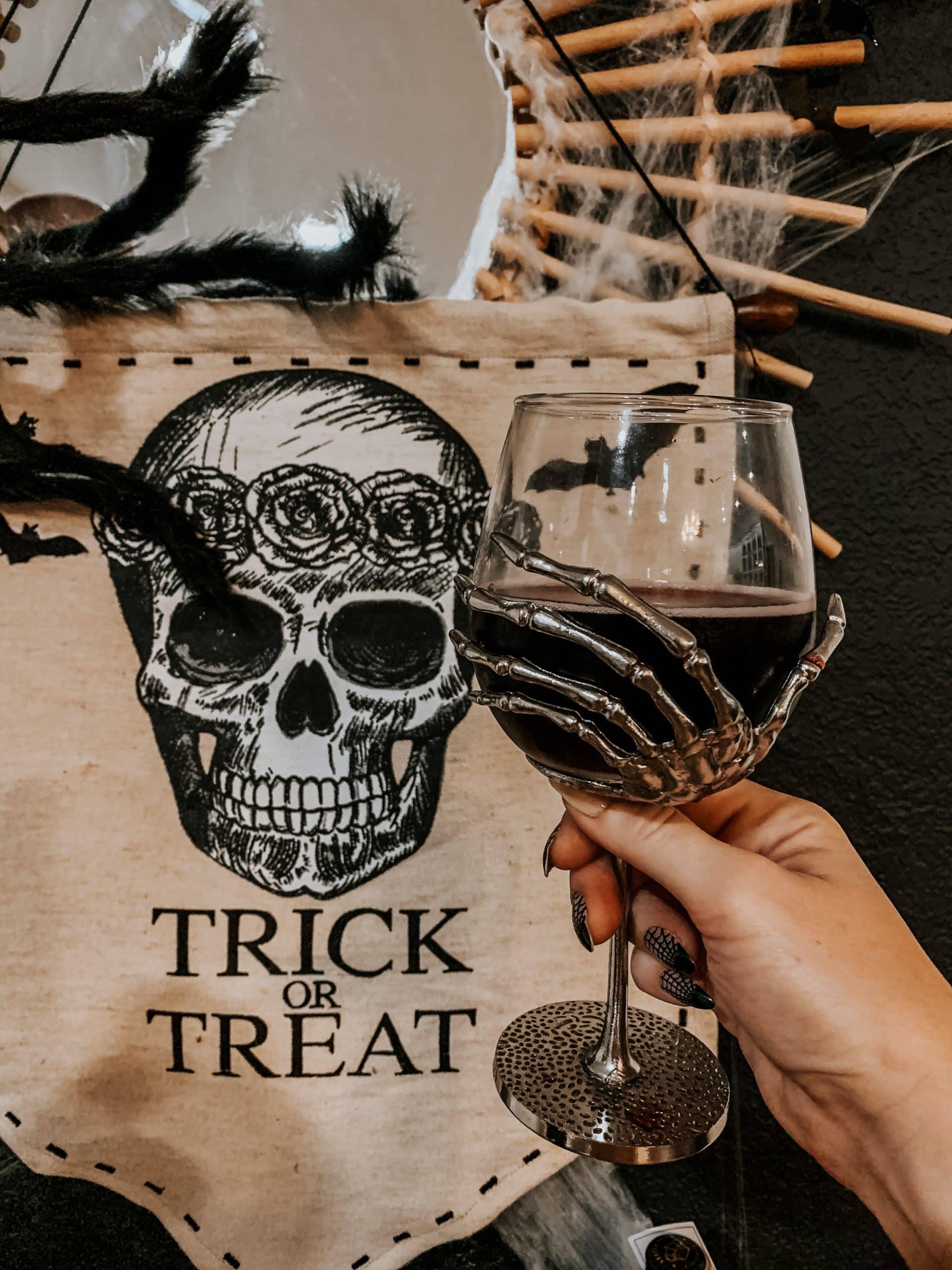 Long Stem Skeleton Hand Wine Glass