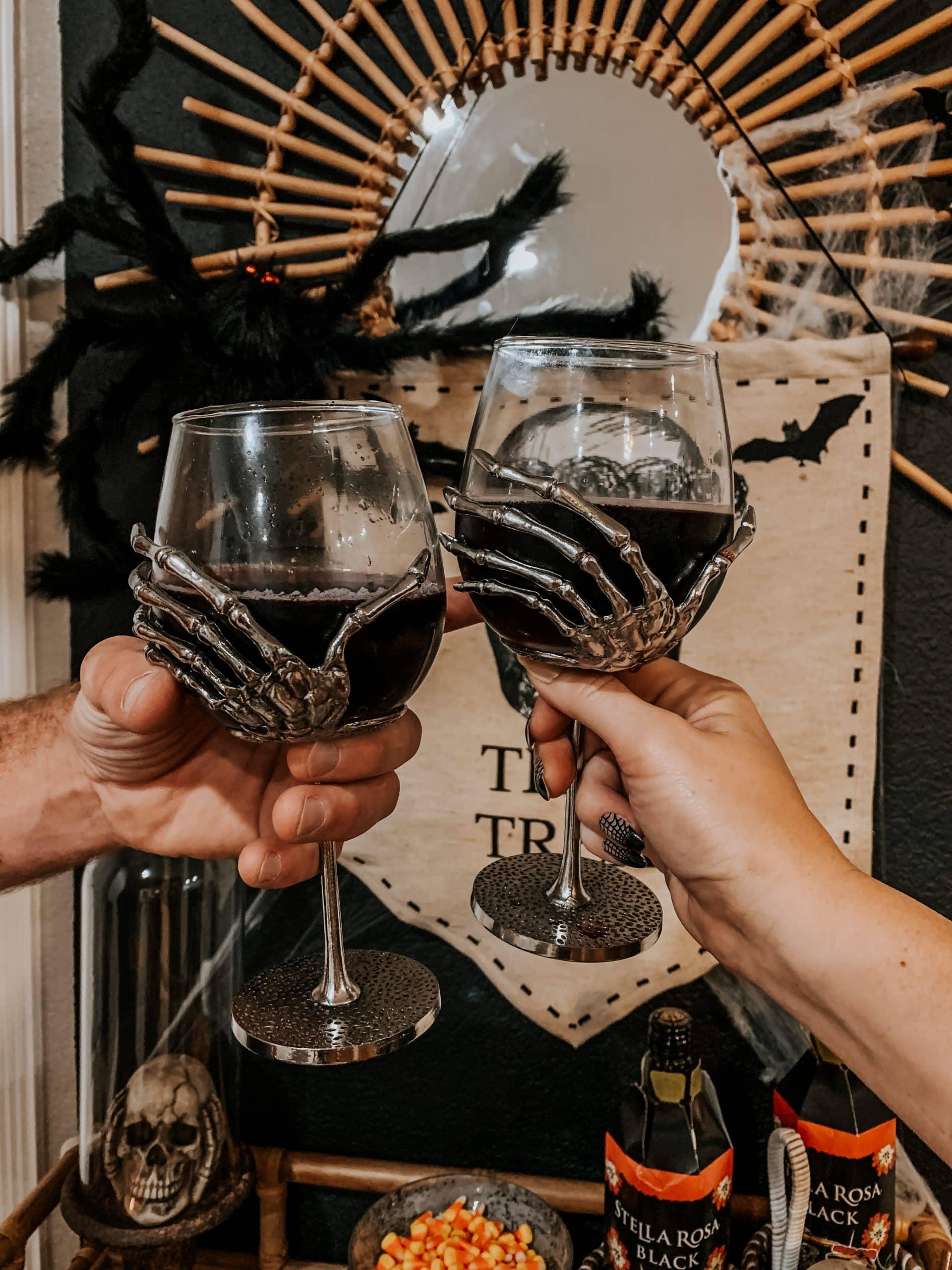Long Stem Skeleton Hand Wine Glass Set
